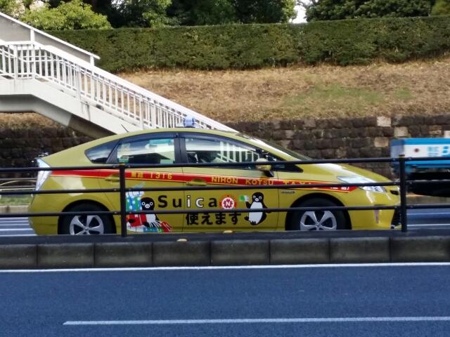 Suica のペンギンラッピングタクシー